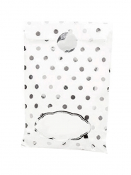 8 sacchetti di carta bianchi a pois argento
