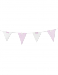 Ghirlanda con bandierine a righe bianche e rosa e fiocco