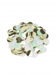 Coriandoli di carta color menta, oro e bianco