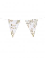 Ghirlanda bandierine baby shower e foglie oro