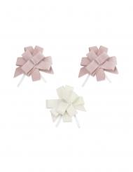 3 fiocchi da tirare in velluto rosa e bianco