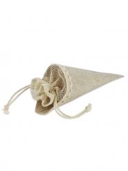 5 sacchetti in lino a forma di cono