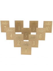10 segna tavoli kraft con numeri oro