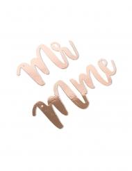 Sospensioni Mr e Mme oro rosa con nastro in satin avorio