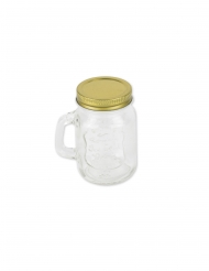 Mason jar in vetro con tappo oro