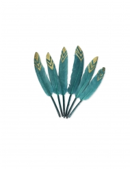 6 piume etniche blu pavone e oro
