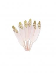 6 piume etniche rosa e brillantini dorati