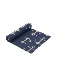 Runner da tavola in lino blu con ancore dorate