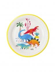 8 piatti in cartone piccoli dinosauri 23 cm