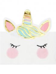 12 tovaglioli a forma di unicorno bianco e pastello