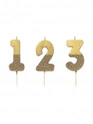 Candelina color oro con brillantini numero