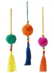 Sospensione con pompon boho multicolor