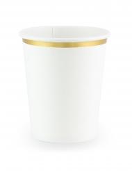 6 bicchieri in cartone bianchi con bordino oro