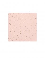 20 tovaglioli di carta rosa con pois oro
