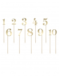 11 segnatavolo bastoncini con numeri oro