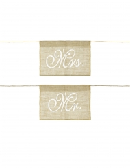2 decorazioni per sedia in iuta Mr e Mrs