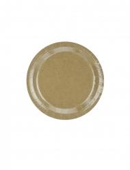 6 piatti in cartone kraft effetto lucido 23 cm