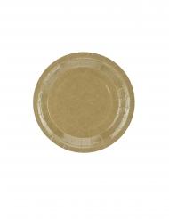 6 piattini in cartone kraft effetto lucido 18 cm