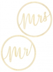 2 sospensioni in legno Mr e Mrs