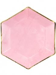 6 piatti in cartone esagonali rosa e oro 23 cm