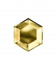 6 piattini in cartone esagonali oro 20 cm