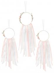 3 acchiappa sogni con nastri rosa e bianchi