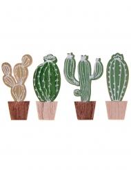 4 decorazioni in legno cactus