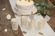 8 cannucce in cartone Just Married bianco e oro