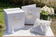 Urna in cartone Just Married bianca e oro