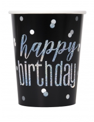 8 bicchieri in cartone Happy Birthday nero e grigio