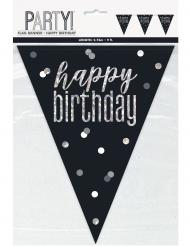 Ghirlanda in plastica Happy Birthday nera e grigia