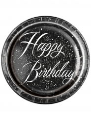 8 piatti in cartone Happy Birthday coriandoli argento 23 cm
