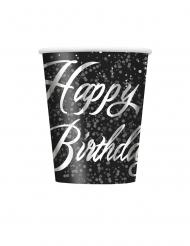 8 bicchieri in cartone Happy Birthday coriandoli argento