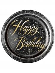 8 piatti in cartone Happy Birthday coriandoli oro 22 cm
