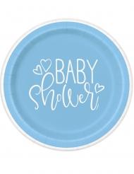 8 piatti in cartone baby shower blu 23 cm