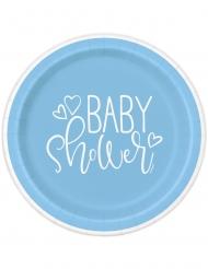 8 piattini in cartone baby shower blu 18 cm