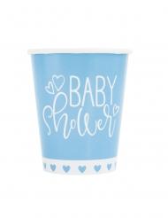 8 bicchieri in cartone baby shower blu