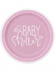 8 piatti in cartone baby shower rosa 23 cm