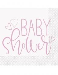 16 tovaglioli di carta baby shower rosa