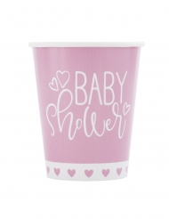 8 bicchieri in cartone baby shower rosa