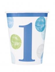 8 bicchieri in cartone 1° compleanno pois blu
