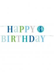 Ghirlanda in cartone 1° compleanno pois blu