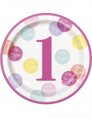 8 piatti in cartone 1° compleanno pois rosa 23 cm