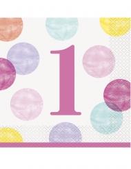 16 tovaglioli di carta 1° compleanno pois rosa