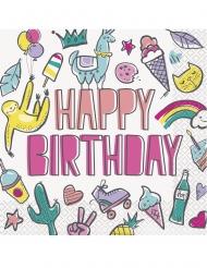 16 tovaglioli di carta Happy Birthday pop