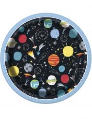 8 piattini in cartone universo 18 cm