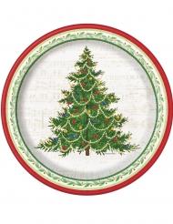 8 piatti in cartone albero di Natale classico 25 cm