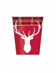 8 bicchieri in cartone cervo bianco e rosso