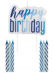 Kit decorazioni per torta Happy Birthday blu