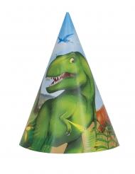 8 cappellini in cartone dinosauri